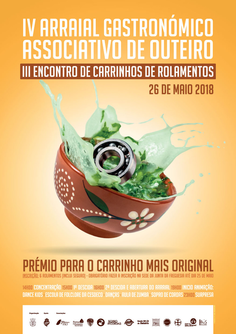 Cartaz do IV Arraial Gastronómico Associativo de Outeiro e III Encontro de Carrinhos de Rolamentos