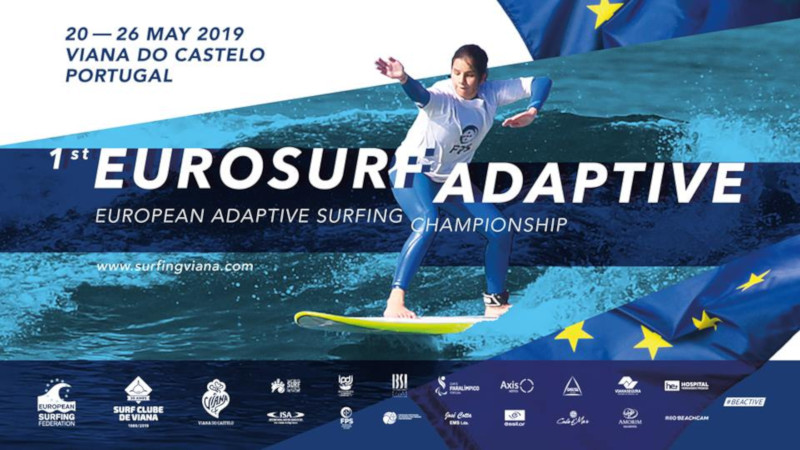 Cartaz do Campeonato Europeu de Surf Adaptado